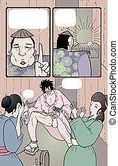 漫画, ページ, イラスト