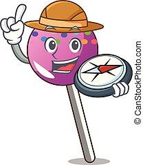 漫画, マスコット, 振りかける, 探検家, lollipop