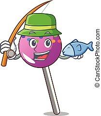 漫画, マスコット, 振りかける, lollipop, 釣り