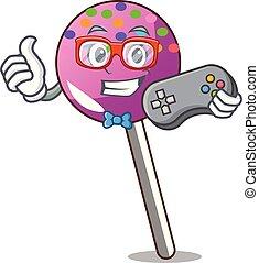 漫画, マスコット, 振りかける, lollipop, gamer