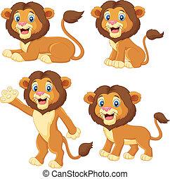 漫画, ライオン, コレクション, セット