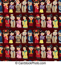 漫画, 中国語, 人々, seamless, パターン