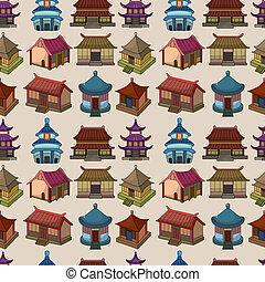 漫画, 中国語, 家, seamless, パターン
