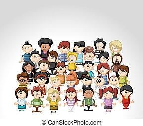 漫画, 人々, グループ