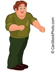 漫画, 人, 中に, 緑, ズボン, 微笑