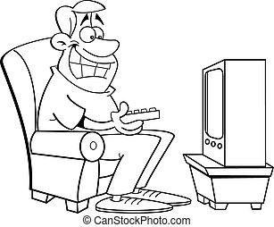 漫画, 人, television., 監視