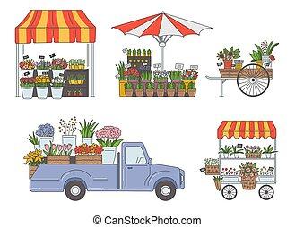 漫画, 停止, バン, 市場, セット, 花, isolated., スケッチ, ベクトル, イラスト