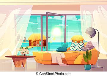 漫画, 内部, リゾート, 部屋, ホテル, トロピカル