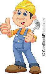 漫画, 労働者, repairm, 建設