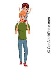 漫画, 単一 親 家族, 子供
