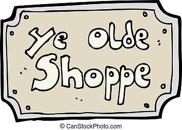 漫画, 古い, 偽造品, 店の 印