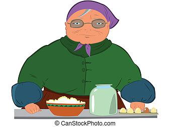 漫画, 古い 女性, 中に, 紫色, 帽子