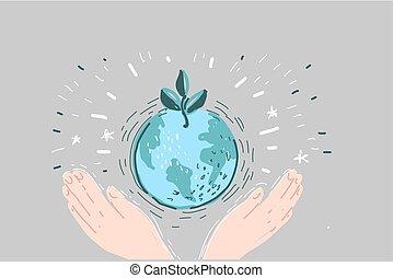漫画, 地球, イラスト, 手, 保有物