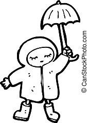 漫画, 女の子, 中に, 雨コート