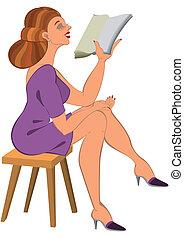 漫画, 女, 中に, 緑のドレス, 読書
