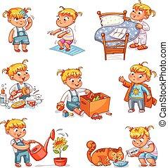 漫画, 子供, 日常業務, 活動, セット