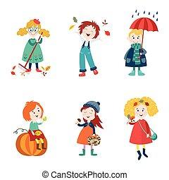 漫画, 子供, 楽しみなさい, 秋, 秋, 活動