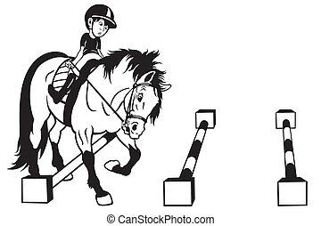 漫画, 子供, 訓練, 馬