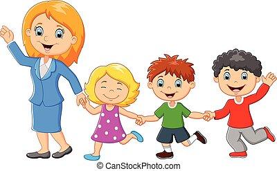 漫画, 家族, 幸せ