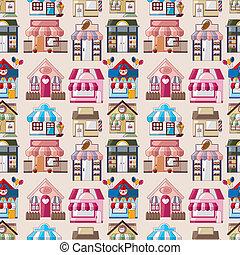 漫画, 家, /, 店, seamless, パターン