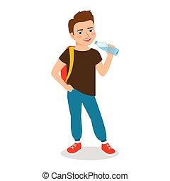 漫画, 小さい 男の子, 飲むこと, 水をきれいにしなさい