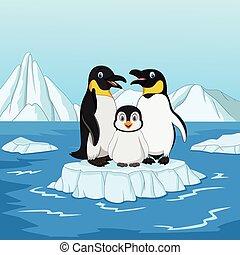 漫画, 幸せ, ペンギン, 家族, 地位, 上に, 流氷