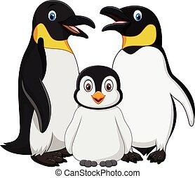漫画, 幸せ, ペンギン, 家族, 隔離された, 白, 背景