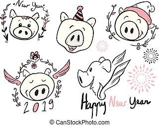 漫画, 幸せ, 新しい, 顔, 年, ベクトル, 芸術, 線, 豚, 年, すべて