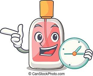 漫画, 形, parfum, botlle, 時計