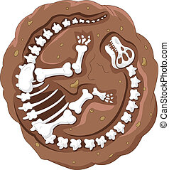 漫画, 恐竜, 化石