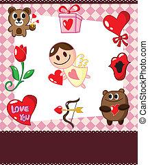 漫画, 愛, カード