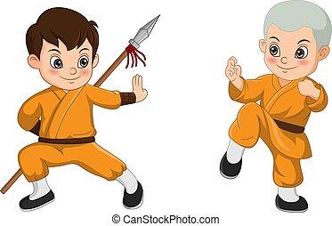 漫画, 戦い, 子供, 修道士, shaolin