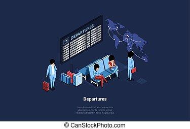 漫画, 暗い, 執筆, バックグラウンド。, タイムテーブル, 待つこと, sittings., 人々, 出発, イラスト, スタイル, 構成, スクリーン, 3d, ベクトル, 芸術, 飛行機, 等大, 空港, 屋内