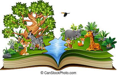 漫画, 本, 動物, 川, 開いた, 遊び