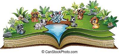 漫画, 本, 動物, 赤ん坊, 川, 開いた, 遊び