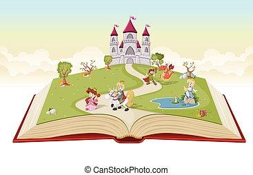 漫画, 本, 開いた, 王子, プリンセス