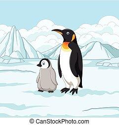 漫画, 母 と 赤ん坊, ペンギン, 上に, 雪が多い, フィールド