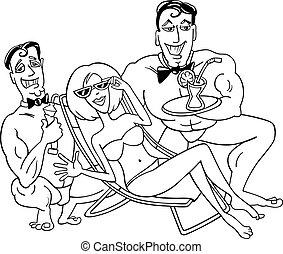 漫画, 浜, 幸せな女性