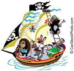 漫画, 海賊, 船
