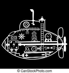漫画, 潜水艦, ベクトル, 図画