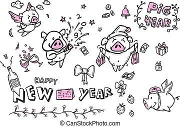 漫画, 特徴, 幸せ, 新しい, ベクトル, 年, 芸術, 線, 豚, 年, すべて