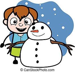 漫画, 男の子, 十代, 雪だるま