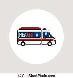 漫画, 白, ベクトル, 救急車