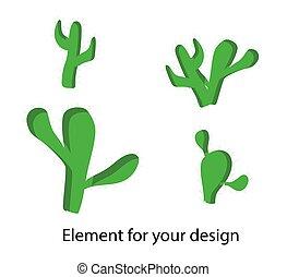 漫画, 白, 要素, バックグラウンド。, cacti., succulents., セット, スタイル, あなたの, イラスト, 子供, design..
