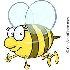漫画, 白, 隔離された, 背景, 蜂