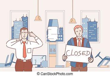漫画, 破産者, ビジネス, illustration., ビジネスマン, ベクトル, アウトライン, ∥(彼・それ)ら∥, なる, 閉じられた