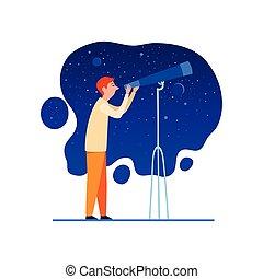 漫画, 空, 望遠鏡, アイコン, スタイル, 夜, 天文学者