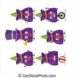 漫画, 紫色, 特徴, 様々, 袋, ショー, サーカス, キャンデー