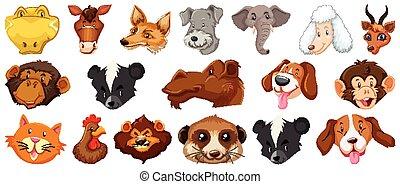 漫画, 背景, セット, かわいい, 巨大, 頭, 白, 別, 隔離された, 動物