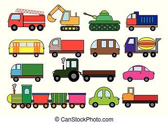 漫画, 自動車, ∥など∥., ミキサー, トラック, 火, トラクター, 列車, ベクトル, 掘削機, transport., set., コンクリート, モード, illustration., バス, 輸送, ゴミ捨て場, 表面